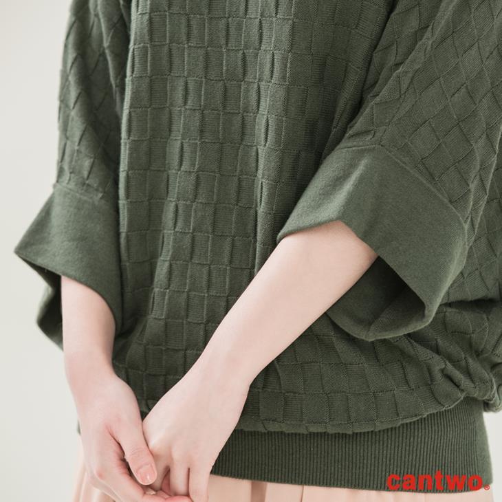 cantwo方格蝙蝠袖針織上衣(共三色) 4