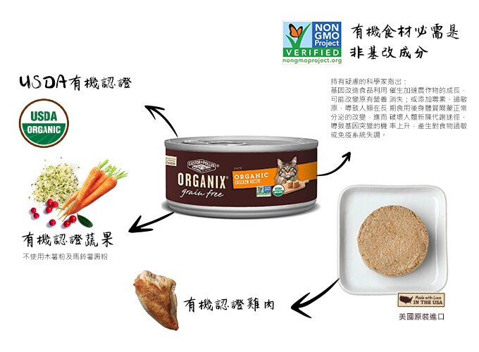 ORGANIX 歐奇斯 95%貓用主食餐罐 7種口味 5.5oz(156G) X12罐 6
