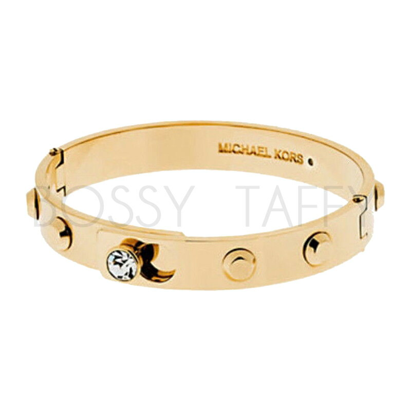 MICHAEL KORS 時尚金純鋼鑲鑽手環 MK Astor Gold-Tone Bangle MKJ4552