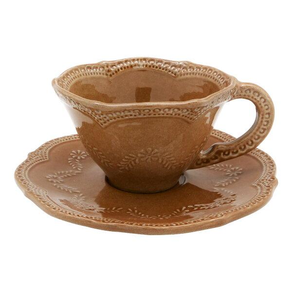 義大利VBCCASA蕾絲花茶咖啡杯盤組(深栗棕)