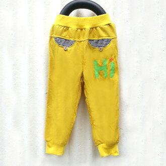 【班比納精品童裝】立體星星口袋束口棉褲-黃【BB150731021】