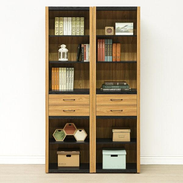 【日本直人木業】NOUN柚木工業風110公分兩個開放書櫃