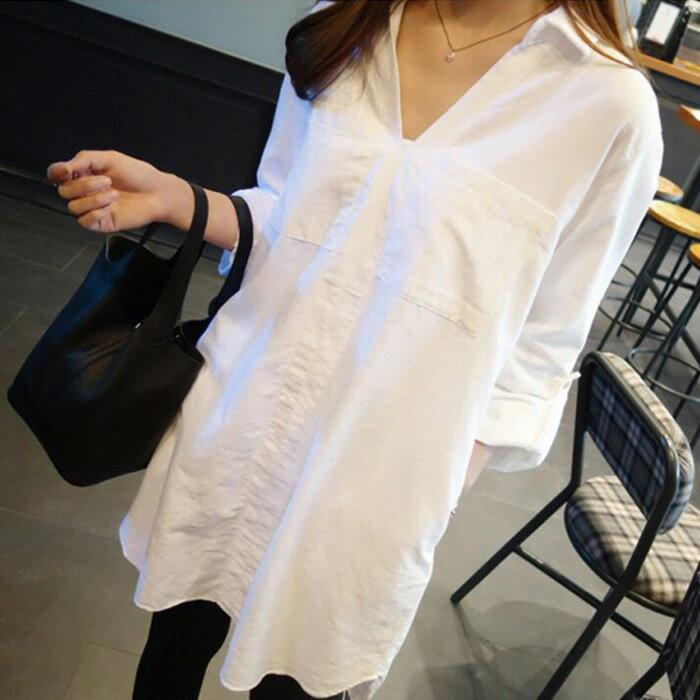 糖衣子輕鬆購~HY6616~ 潮流 休閒寬鬆百搭白色長袖襯衫