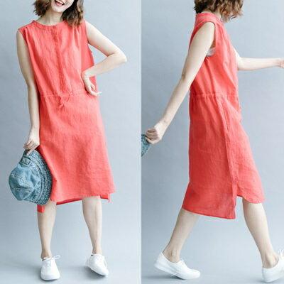連衣裙無袖連身裙-純色休閒收腰綁帶女裙裝3色73te14【獨家進口】【米蘭精品】