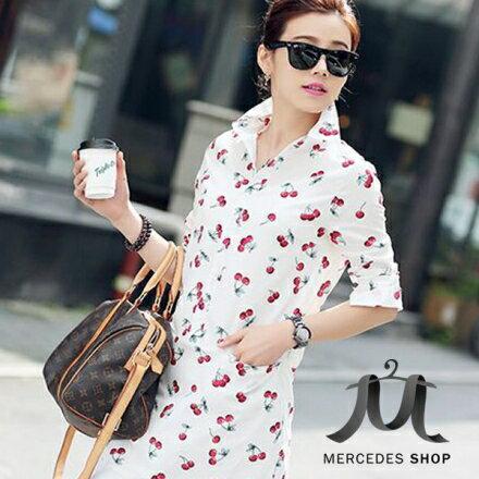 梅西蒂絲Mercedes Shop:《早秋新品5折》修身棉麻上衣中長款襯衫-M-XL-梅西蒂絲(現貨+預購)