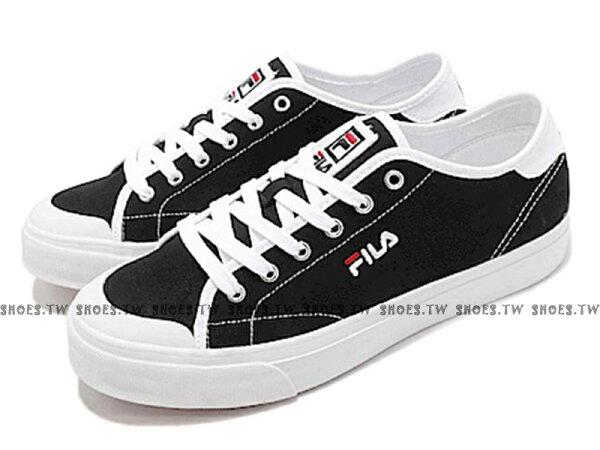 Shoestw【1C910S001】FILACLASSICKICKS帆布鞋休閒鞋黑白男生尺寸