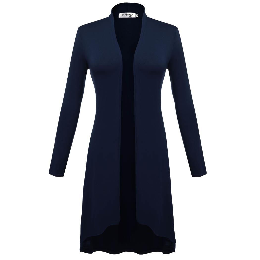 Women Long Sleeve Open Front Solid Long Cardigan Coat 2