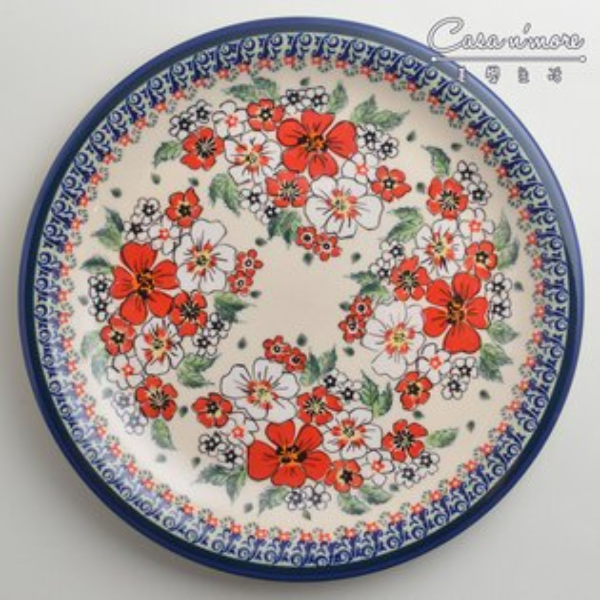 波蘭陶紅白彩卉系列圓形餐盤陶瓷盤菜盤點心盤圓盤沙拉盤27cm波蘭手工製