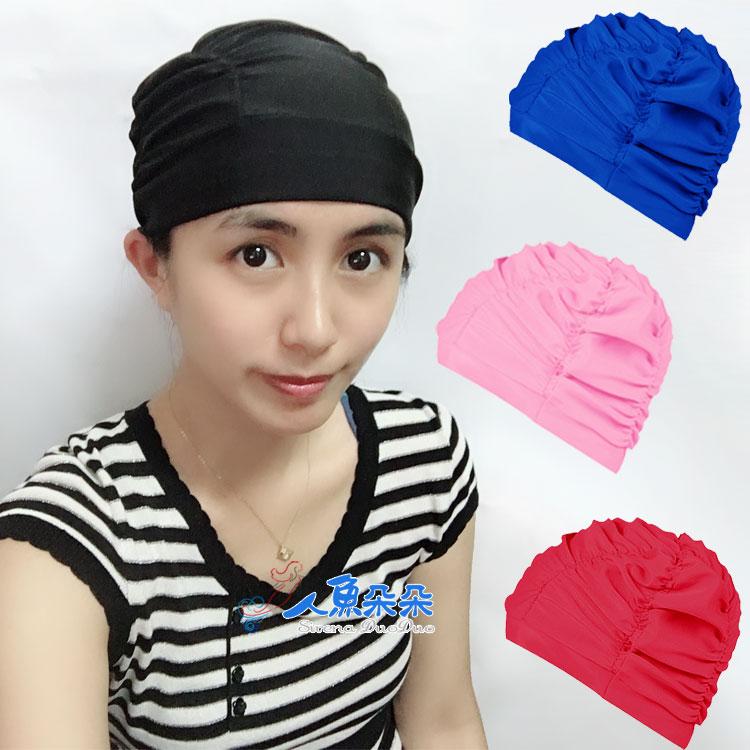 抓皺泳帽 男女成人小孩通用 長髮適用 高彈性布純色 透氣舒適不勒頭 泳池海邊溫泉人魚朵朵 現貨