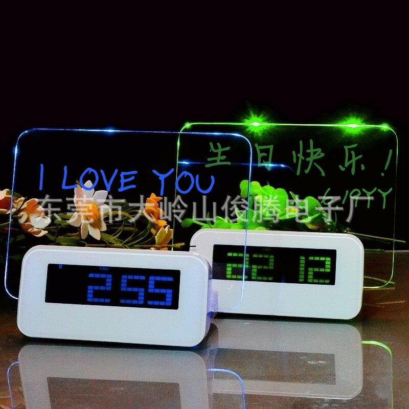 LED熒光留言板鬧鐘 創意USB留言鬧鐘 情人節禮品時鐘炫彩鐘