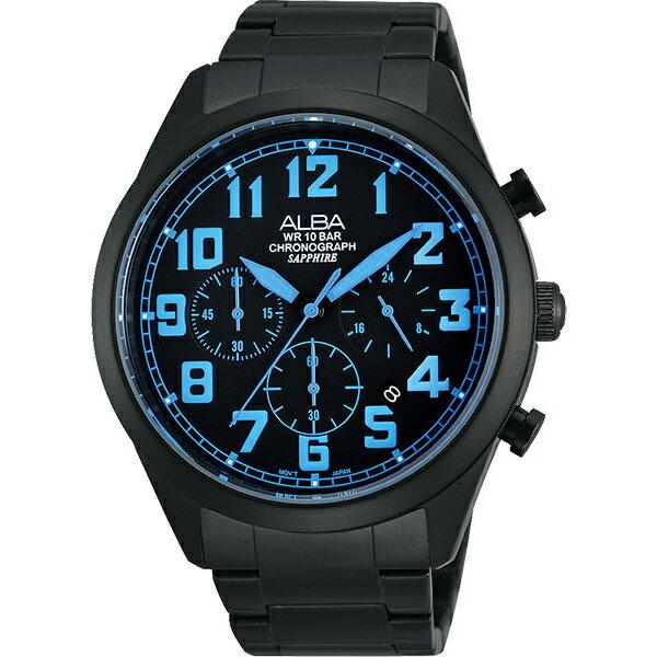 ALBA VD53-X170B(AT3593X1)黑藍撞色計時腕錶/黑面45mm