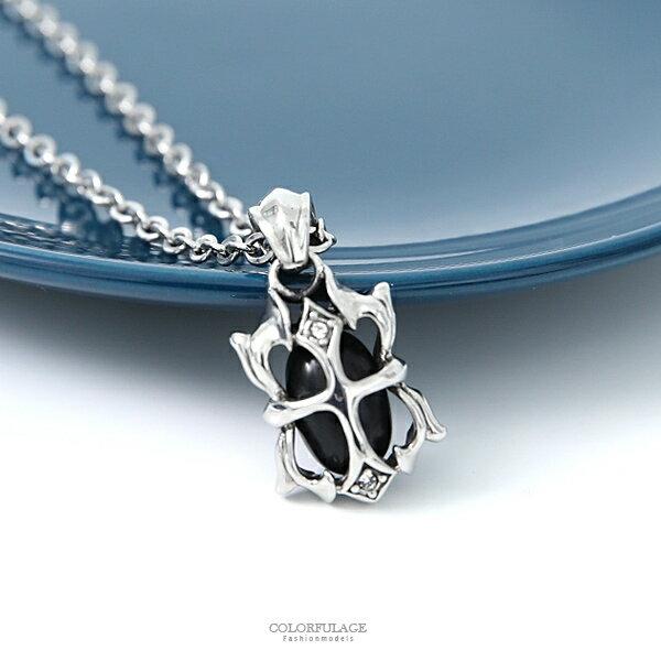 鋼製水鑽十字鏤空花邊黑珠項鍊NB833