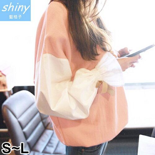 shiny藍格子:全店滿600折50【V2010】shiny藍格子-秋意美序.撞色拼接縮口喇叭袖上衣