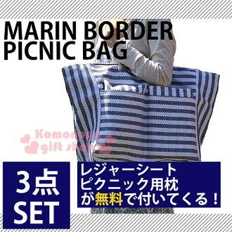 〔小禮堂〕野餐用3件組《大.藍白條紋》側肩背袋+野餐墊+枕頭