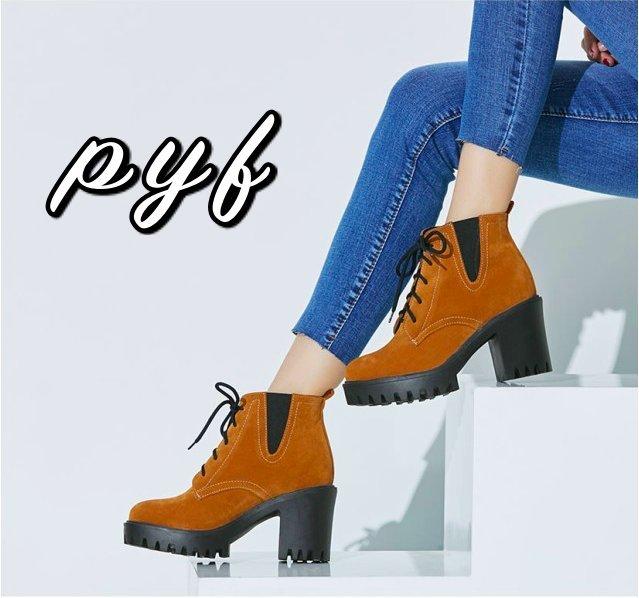 Pyf ♥ 百搭 絨面仿麂皮 鬆緊厚底粗跟 防水台高跟短靴 踝靴 綁帶機車靴馬丁靴 43 大尺碼女鞋