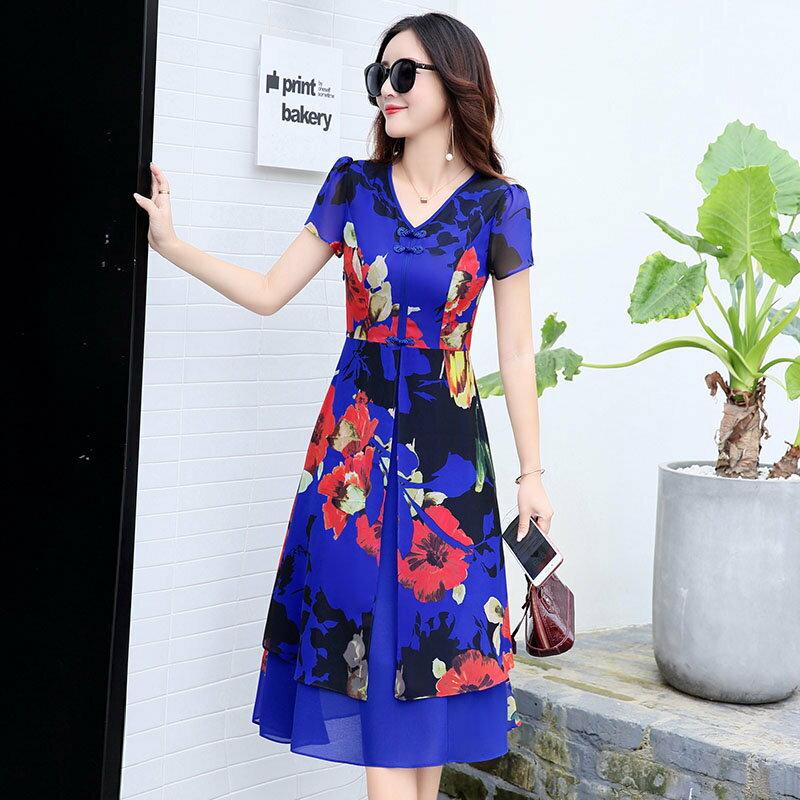 FINDSENSE G5 韓國 甜美 印花 連身裙 中長款 短袖 雪紡裙 度假 沙灘裙