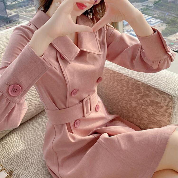 夯貨折扣!洋裝小香風 粉色西裝裙連衣裙秋新款雙排扣小個子長袖中長款a字裙