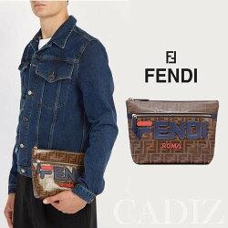 義大利真品Fendi LOGO CLUTCH BAG 棕色雙F印花牛皮拉鍊手拿包