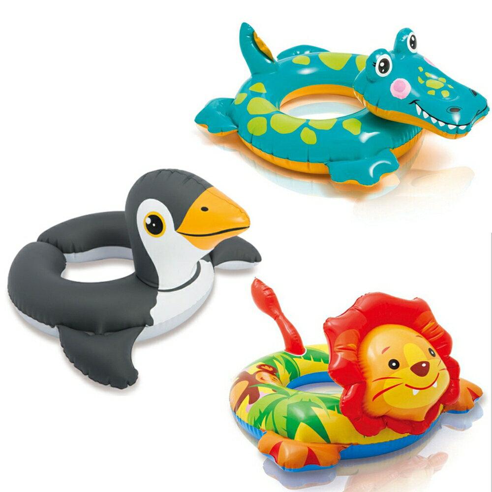 短吻鱷 獅子 企鵝 可愛兒童動物 充氣游泳圈 泳池浴缸玩水學游泳 橘魔法 Baby mag