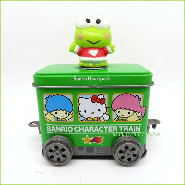 asdfkitty可愛家☆展示品出清-大眼蛙可連結車車造型鐵製收納盒-不含內容食品-日本製