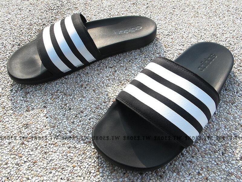 Shoestw【AQ4935】ADIDAS ADILETTE CF+ 拖鞋 黑白條 超柔軟底 男生