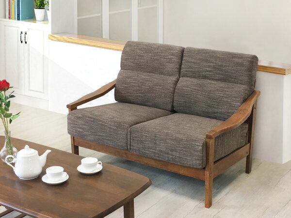 !新生活家具!《雅典》二人位沙發二人座布沙發木製沙發亞麻布橡膠木自然清新