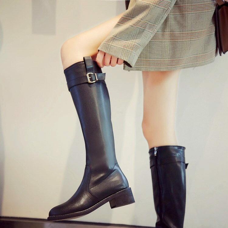 膝下靴 粗跟不過膝高筒軍靴長筒皮靴女網紅靴2020秋冬刷毛直筒騎士靴『CM397257』