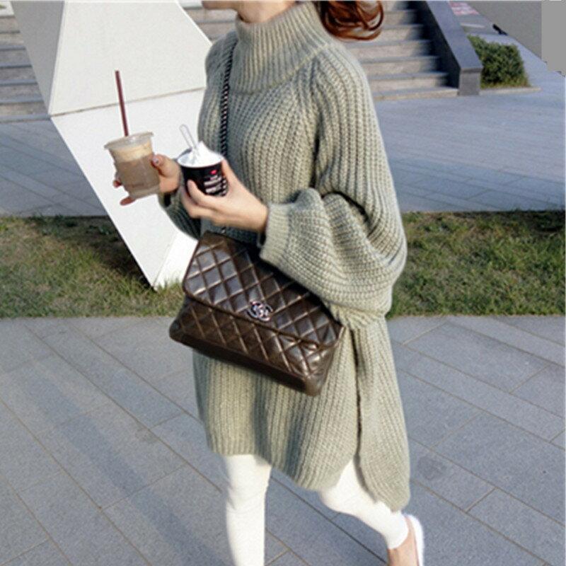 長版小立領修身針織毛衣