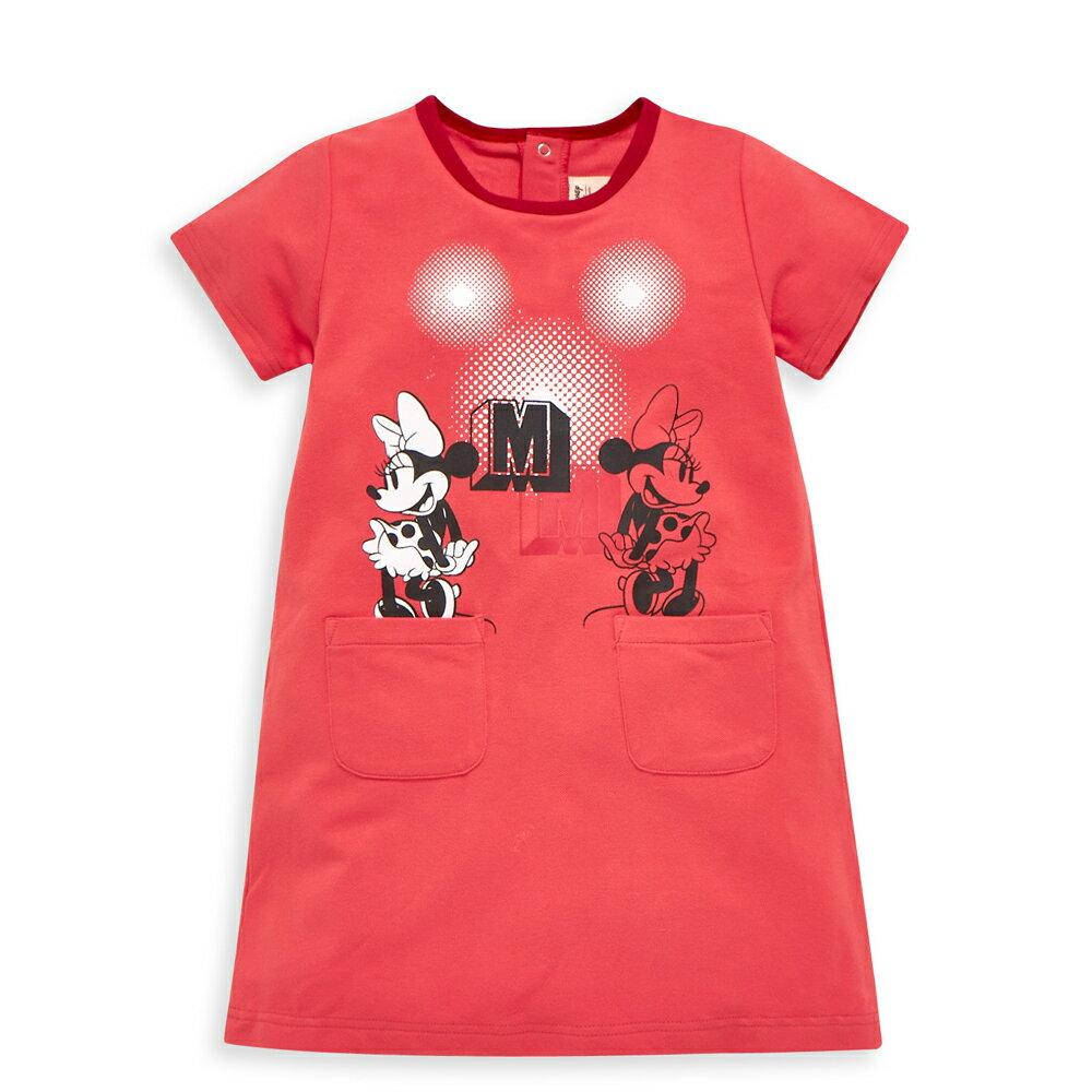 Disney 米妮系列閃閃口袋洋裝-熱情粉