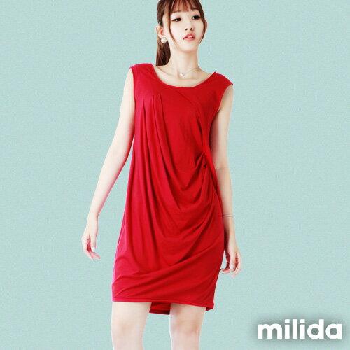 【Milida,全店七折免運】前後U領-立體抓皺剪裁洋裝 0