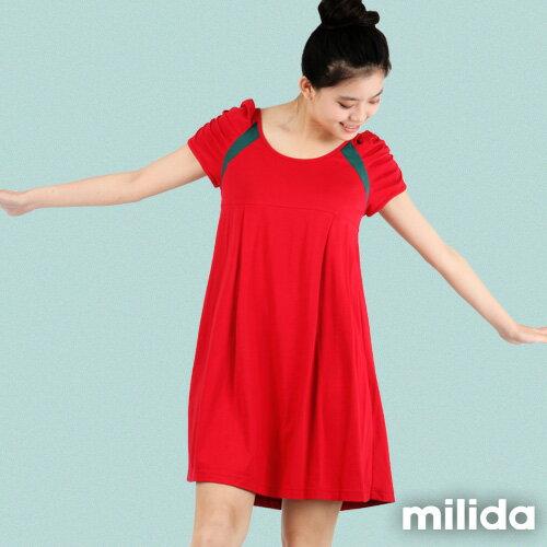 【Milida,全店七折免運】-早春商品-公主袖-舒適寬版洋裝 3