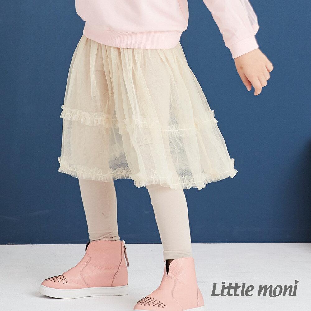 Little moni 假兩件網紗蓬裙-象牙白 1