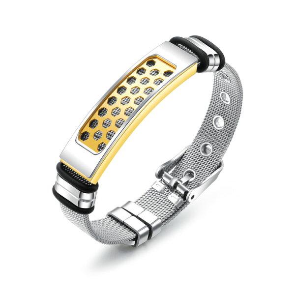 【5折超值價】經典流行特色網狀縷空造型可調節鈦鋼手環