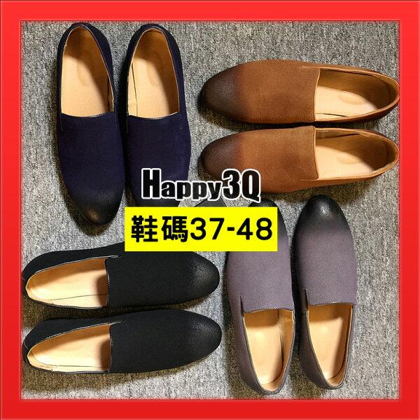 懶人鞋加大碼男鞋47圓頭淺口平底鞋大碼休閒鞋子耐走-黑藍黃灰37-48【AAA4008】