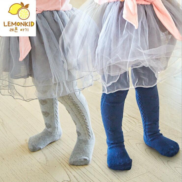 WallFree窩自在~ 百搭純色愛心提花連褲嬰兒兒童連褲襪^( 0~4歲^)