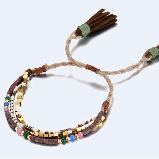 韓國可調多層陶瓷米珠編織手環 手鍊