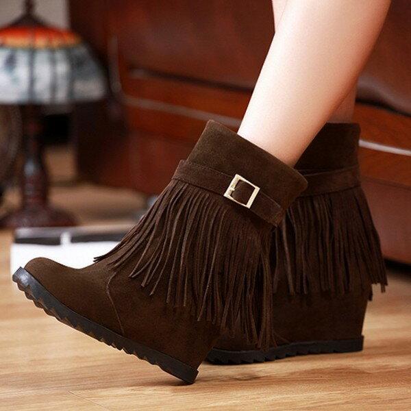 甜美坡跟流蘇靴高跟內增高雪地靴單靴女靴短靴-黑/灰/黃/棕34-39預購【no-41528862923】