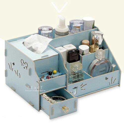 【現貨】DIY面紙盒抽屜木質化妝收納盒 木製化妝盒 面紙盒 組合式 收納盒