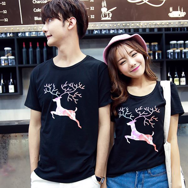 T恤 情侶裝 客製化 MIT 製純棉短T 班服◆ 出貨◆ 配對情侶裝.繽紛麋鹿.北歐氛圍~