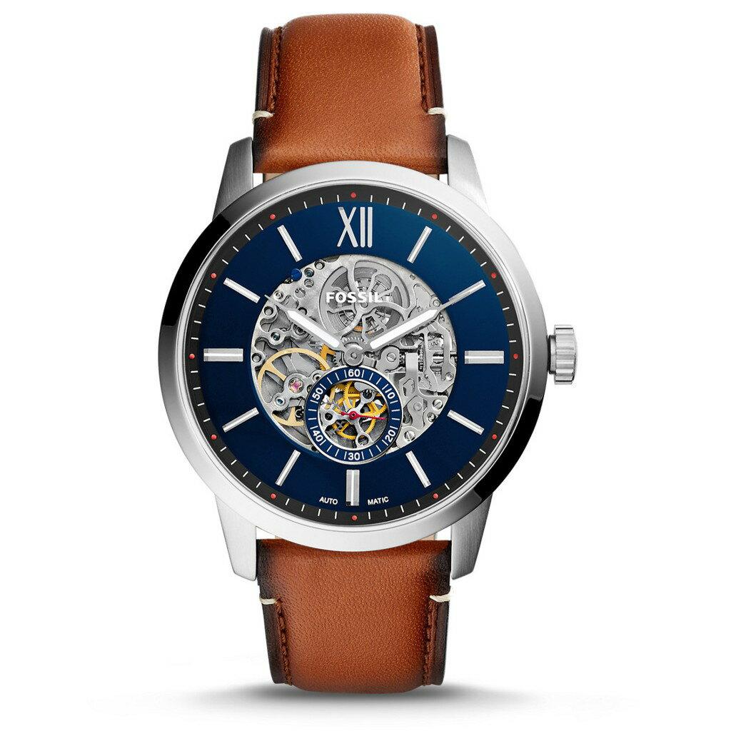 Fossil  毫米淺棕色皮革 腕錶 機械錶 黑 咖啡錶帶 手錶 腕表 ME3154 【Watch-UN】