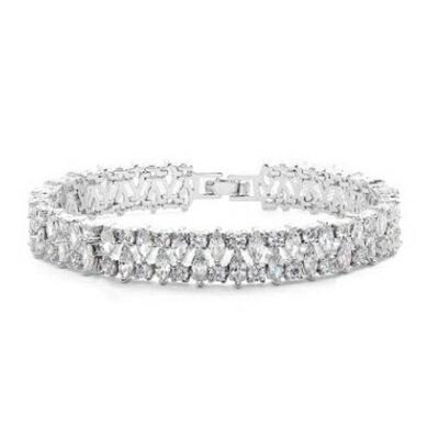 純銀手鍊 鍍白金鑲鑽手環 ~亮眼迷人晚宴派對生日情人節 女飾品73cv45~ ~~米蘭 ~
