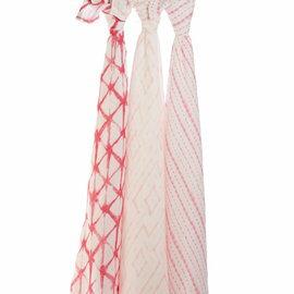 【淘氣寶寶】美國 Aden + Anais 竹纖維雙層細紗布輕柔新生兒包巾(3入裝/公司貨) (莓紅印染9214)★英國喬治小王子御用包巾品牌