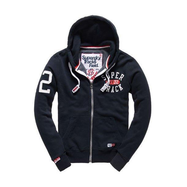 美國百分百【全新真品】Superdry 極度乾燥 連帽 外套 夾克 帽T 棉質 刷毛 拉鍊 深藍 S M號 H736