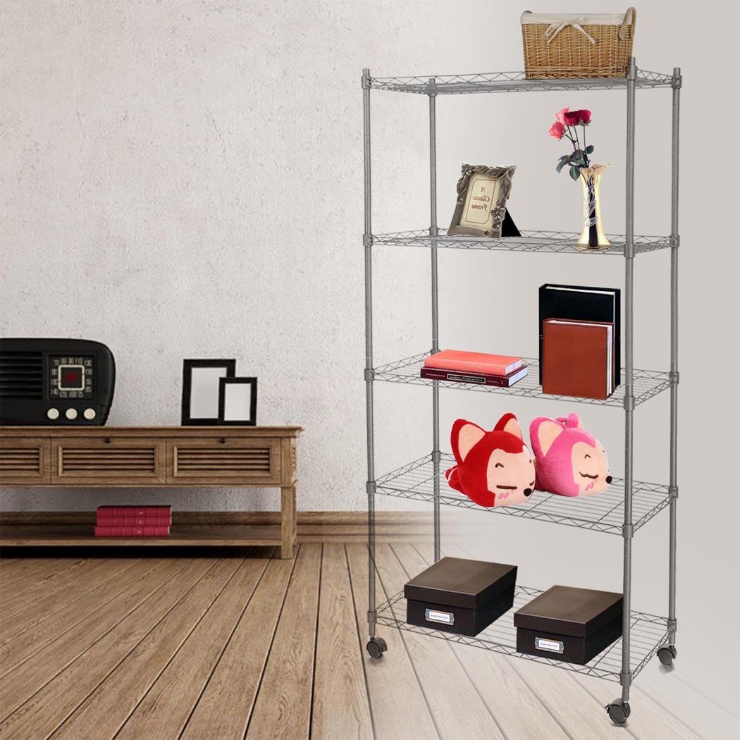 "5-Shelf Wire Shelving Rack Shelves with Wheels 14 x 29 x 61"" 2"
