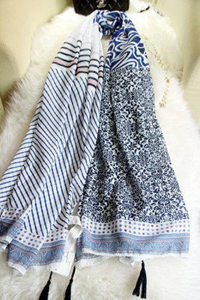 ✤宜家✤新款斜條紋碎花點點流蘇絲棉圍巾 白藍拼色披肩絲巾