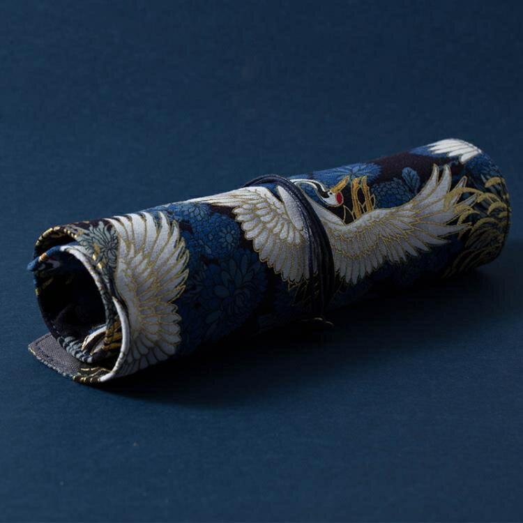 樂天優選--日系復古中國風燙金帆布藝筆簾男女生簡約大容量大中小學生卷筆袋-限時下殺八五折