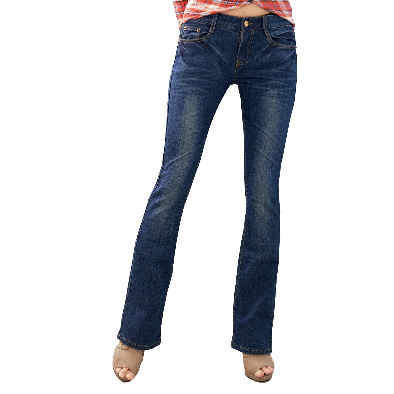 顯瘦--翹臀顯瘦刷色金釦中低腰小喇叭牛仔褲(S-7L)-N61眼圈熊中大尺碼 1