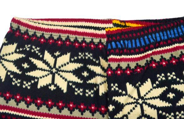 Knitted Colorful Crystal Pattern Graffiti Leggings Winter Tights Pants 5