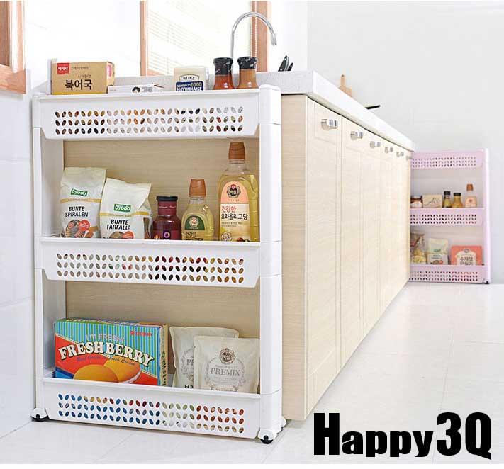 隙縫櫃廚房冰箱縫隙收納架置物架附輪三層塑膠多層整理架子A/B款-白/粉/綠/藍/紫【AAA0385】