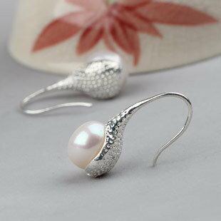 淡水珍珠耳環 9-10mm超大珍珠耳環 珍珠耳環銀耳鉤 時尚款
